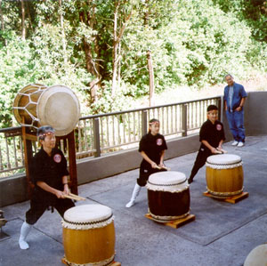 Hui Okinawa Taiko performing at the Waimea Cherry Blossom Festival